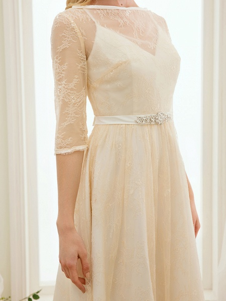 A-Line Wedding Dresses Bateau Neck Knee Length Lace Charmeuse 3\4 Length Sleeve See-Through_7