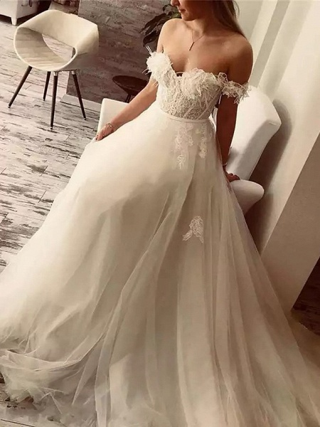 A-Line Wedding Dresses Off Shoulder Sweep \ Brush Train Lace Tulle Short Sleeve Sexy Plus Size_2