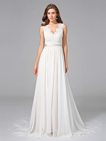 A-Line Wedding Dresses V Neck Court Train Chiffon Lace Regular Straps Romantic See-Through Plus Size Backless_6
