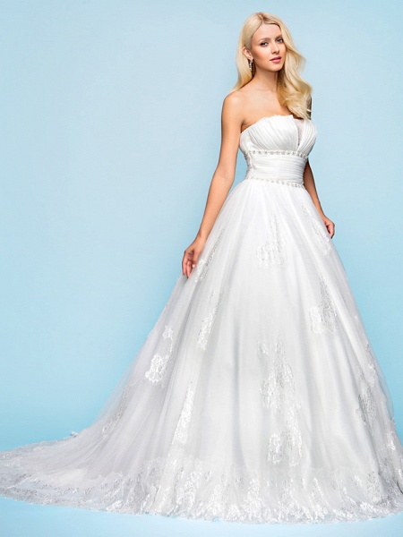 Ball Gown Wedding Dresses Strapless Court Train Organza Tulle Sleeveless_1
