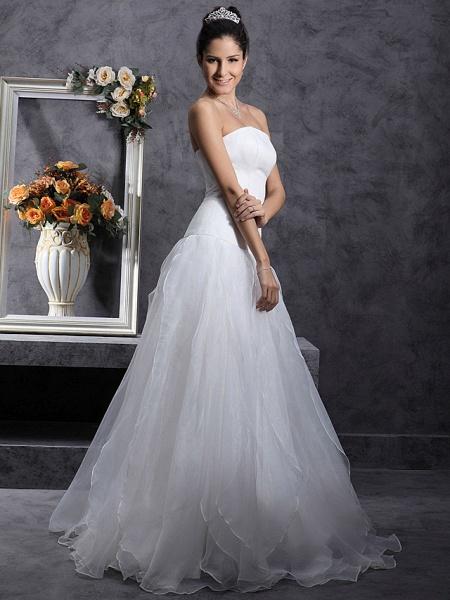 Princess A-Line Wedding Dresses Strapless Organza Satin Sleeveless_5