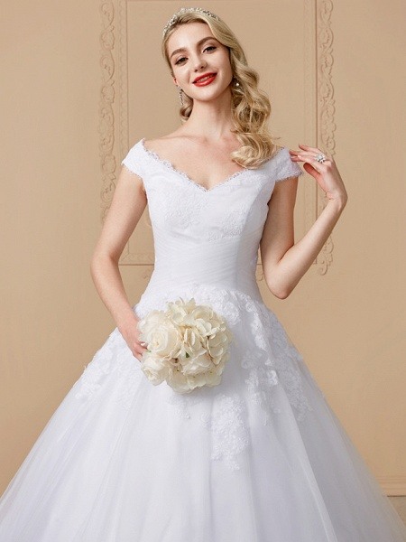 Ball Gown V Neck Cathedral Train Lace Tulle Cap Sleeve Glamorous Illusion Detail Wedding Dresses_5