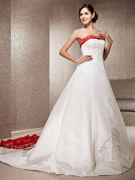 Ball Gown Wedding Dresses Strapless Sweep \ Brush Train Satin Strapless Glamorous Plus Size Red_9