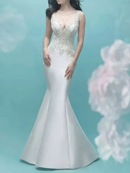 Mermaid \ Trumpet Wedding Dresses V Neck Court Train Lace Satin Sleeveless Casual Plus Size_1