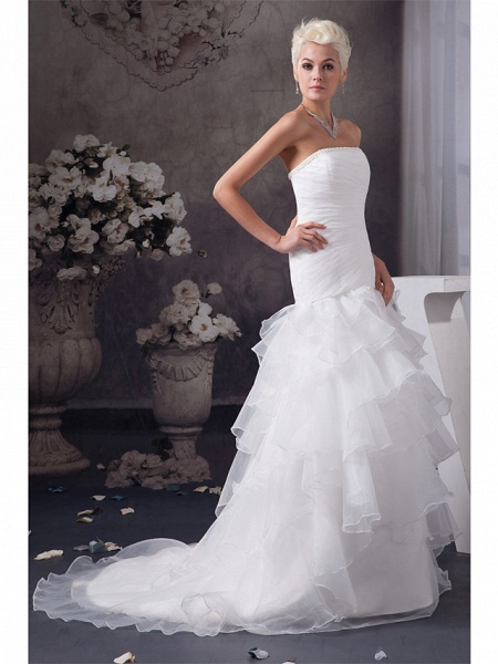 Mermaid \ Trumpet Strapless Chapel Train Organza Satin Strapless Plus Size Wedding Dresses_2
