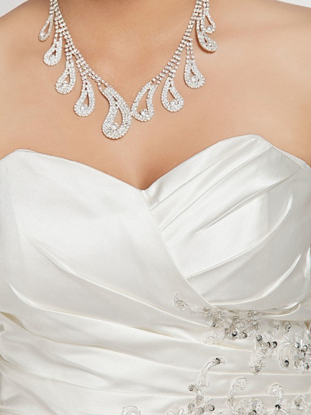 Mermaid \ Trumpet Wedding Dresses Sweetheart Neckline Court Train Satin Strapless Formal Sparkle & Shine Plus Size_8