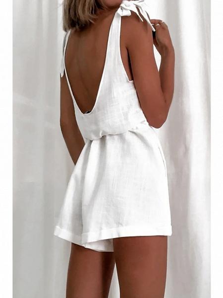 Women's Ordinary \ Basic White Romper_3