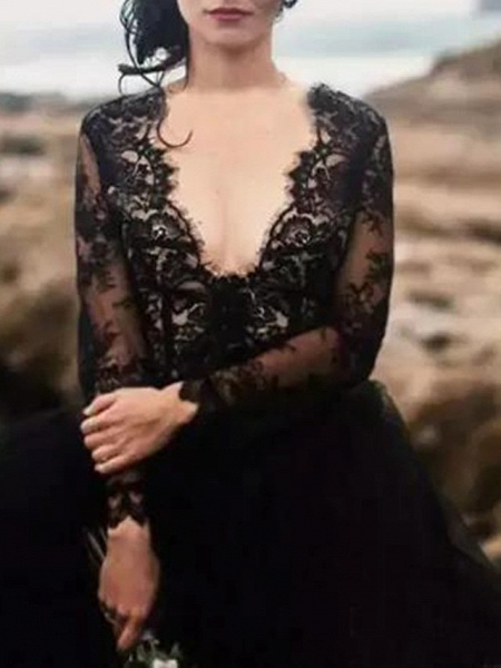 A-Line Wedding Dresses Plunging Neck Sweep \ Brush Train Polyester Long Sleeve Country Plus Size Black_2