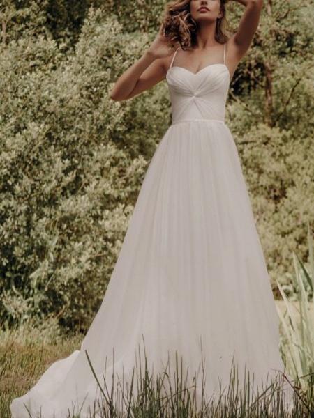 A-Line Wedding Dresses Spaghetti Strap Sweep \ Brush Train Silk Chiffon Over Satin Sleeveless Simple Beach_2
