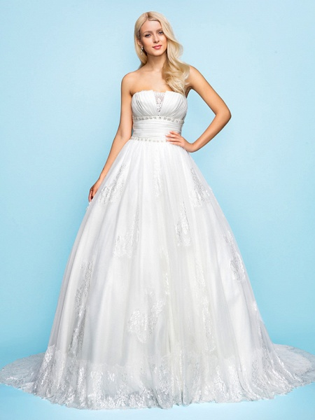 Ball Gown Wedding Dresses Strapless Court Train Organza Tulle Sleeveless_2