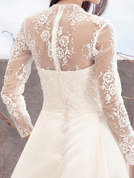 A-Line V Neck Chapel Train Lace Over Satin Long Sleeve Vintage Illusion Sleeve Wedding Dresses_7