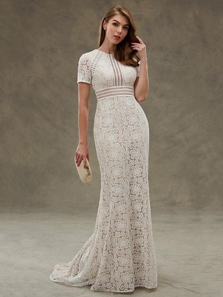 Sheath \ Column Wedding Dresses Jewel Neck Floor Length Sheer Lace Short Sleeve Open Back See-Through_7