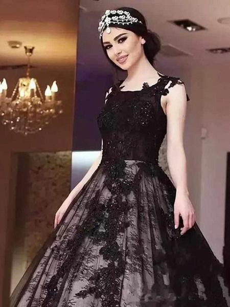 A-Line Jewel Neck Court Train Lace Satin Tulle Regular Straps Black Wedding Dresses_1