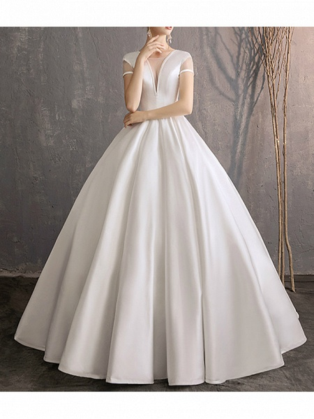 Ball Gown Wedding Dresses Jewel Neck Floor Length Satin Tulle Short Sleeve Simple Plus Size Elegant_5