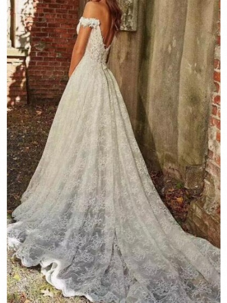 A-Line Off Shoulder Sweep \ Brush Train Polyester Cap Sleeve Country Plus Size Wedding Dresses_2