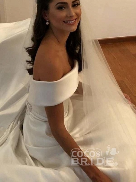 Simple A Line Wedding Dresses Satin Off The Shoulder Wedding Dress_3