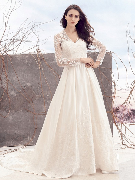 A-Line V Neck Chapel Train Lace Over Satin Long Sleeve Vintage Illusion Sleeve Wedding Dresses_1