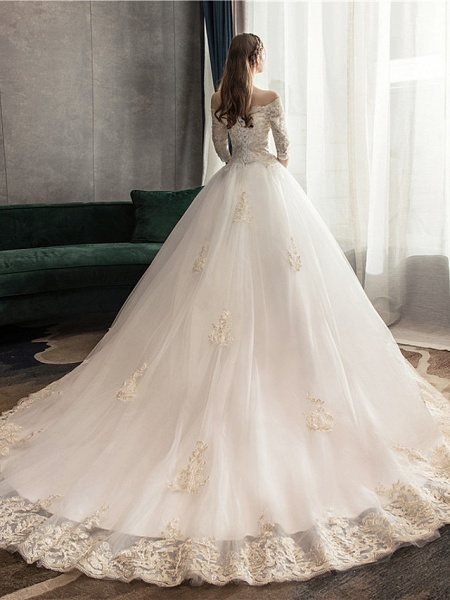 Ball Gown Wedding Dresses Off Shoulder Watteau Train Lace Tulle Polyester 3\4 Length Sleeve Romantic Illusion Sleeve_3