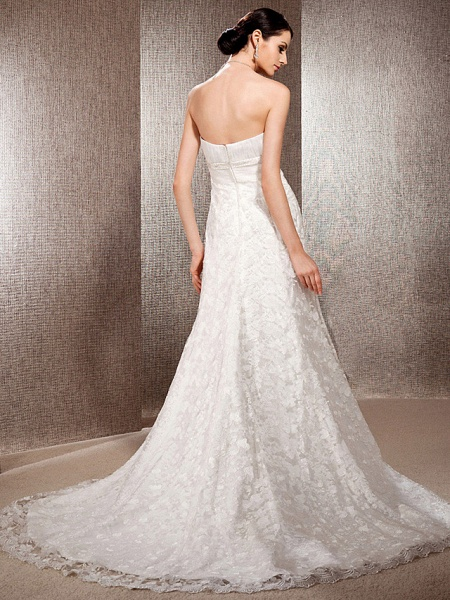 Princess A-Line Wedding Dresses Sweetheart Neckline Court Train Lace Sleeveless Floral Lace_2