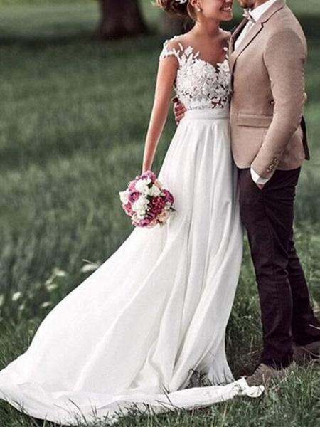 A-Line Wedding Dresses V Neck Sweep \ Brush Train Chiffon Lace Cap Sleeve_3