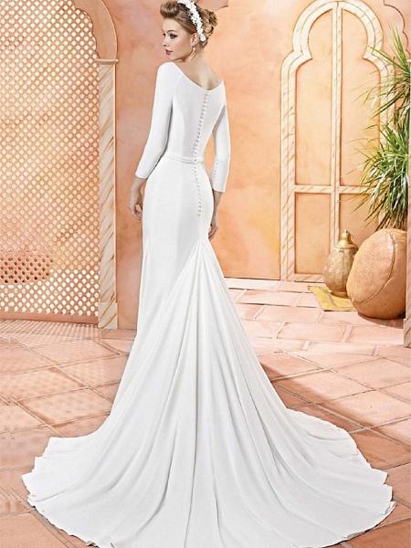 Sheath \ Column Wedding Dresses Scoop Neck Sweep \ Brush Train Satin 3\4 Length Sleeve Simple Vintage Plus Size Elegant_2