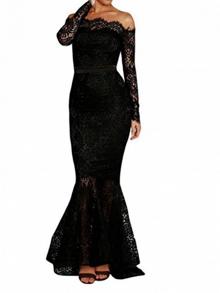 Mermaid \ Trumpet Wedding Dresses Off Shoulder Floor Length Polyester Long Sleeve Formal Plus Size Black_2