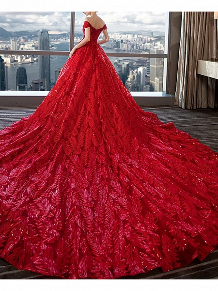 A-Line Off Shoulder Court Train Sequined Polyester Short Sleeve Romantic Plus Size Red Wedding Dresses_4