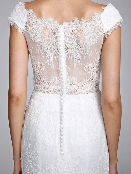 Mermaid \ Trumpet Wedding Dresses V Neck Floor Length All Over Lace Cap Sleeve Romantic Sexy Illusion Detail Backless_10