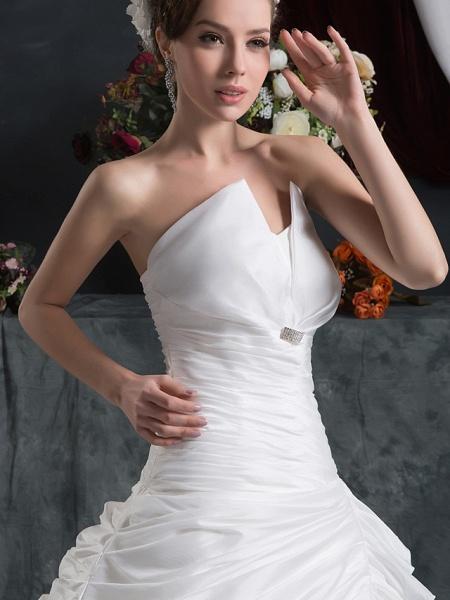 Ball Gown Strapless Court Train Organza Taffeta Strapless Wedding Dresses_4