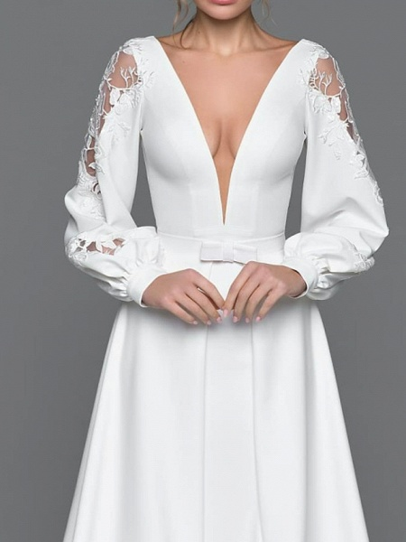 A-Line Wedding Dresses V Neck Court Train Satin Long Sleeve Simple Illusion Detail_2