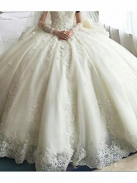 A-Line Wedding Dresses Scoop Neck Court Train Organza Long Sleeve Sexy Wedding Dress in Color_3