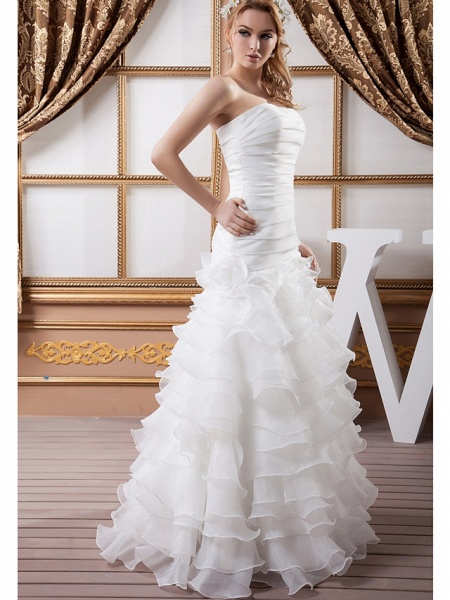A-Line Strapless Floor Length Organza Satin Strapless Wedding Dresses_2