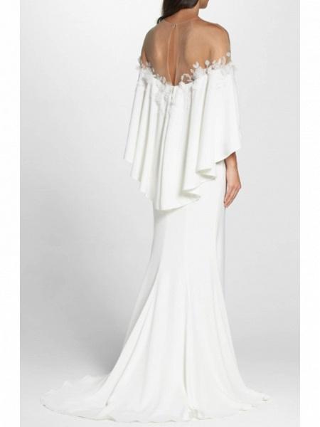 Sheath \ Column Wedding Dresses Jewel Neck Sweep \ Brush Train Jersey 3\4 Length Sleeve Simple Backless Elegant_2