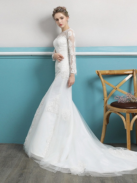 Mermaid \ Trumpet Wedding Dresses Jewel Neck Court Train Lace Tulle Polyester Long Sleeve Sexy Illusion Sleeve_2