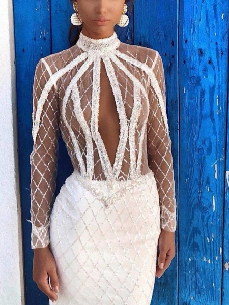 Sheath \ Column High Neck Court Train Lace Satin Long Sleeve Country Sexy Wedding Dress in Color Wedding Dresses_2