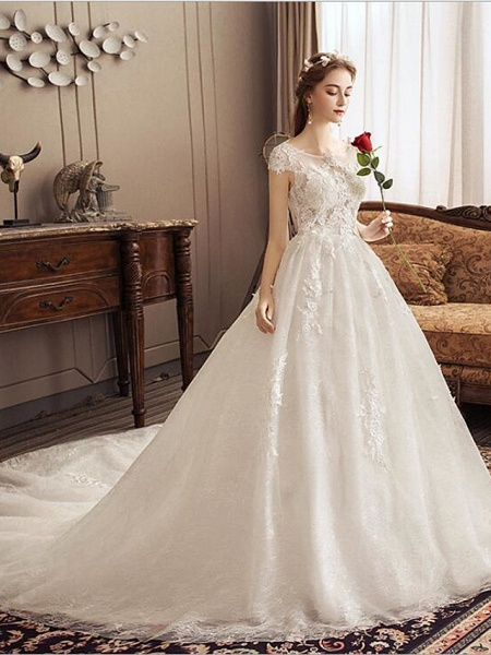 Ball Gown Jewel Neck Watteau Train Lace Tulle Polyester Short Sleeve Romantic Wedding Dresses_3