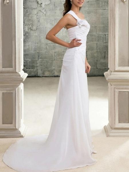 Mermaid \ Trumpet Wedding Dresses One Shoulder Sweep \ Brush Train Chiffon Sleeveless Simple_3