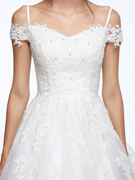 Ball Gown Wedding Dresses Off Shoulder Court Train Organza Beaded Lace Short Sleeve_9
