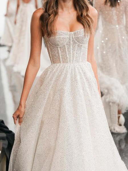 A-Line Spaghetti Strap Sweep \ Brush Train Polyester Sleeveless Country Plus Size Wedding Dresses_3
