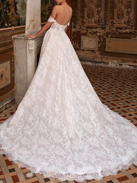 A-Line Wedding Dresses Off Shoulder Sweep \ Brush Train Lace Short Sleeve Plus Size_2