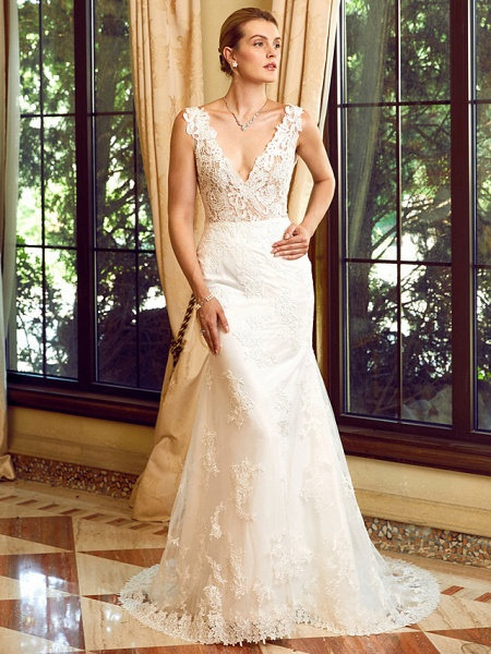 Sheath \ Column V Neck Chapel Train Lace Tulle Regular Straps See-Through Wedding Dresses_6