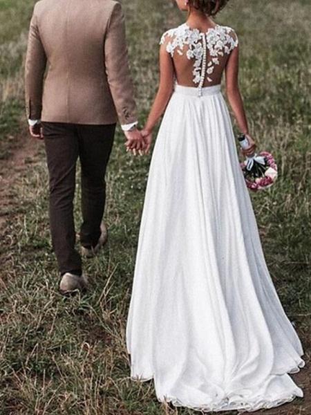 A-Line Wedding Dresses V Neck Sweep \ Brush Train Chiffon Lace Cap Sleeve_2