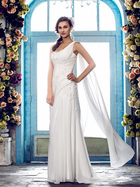 Sheath \ Column Wedding Dresses One Shoulder Sweep \ Brush Train Chiffon Regular Straps Country Simple Vintage Illusion Detail_3