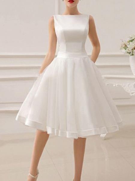 A-Line Wedding Dresses Jewel Neck Short \ Mini Satin Sleeveless Vintage Little White Dress 1950s_3