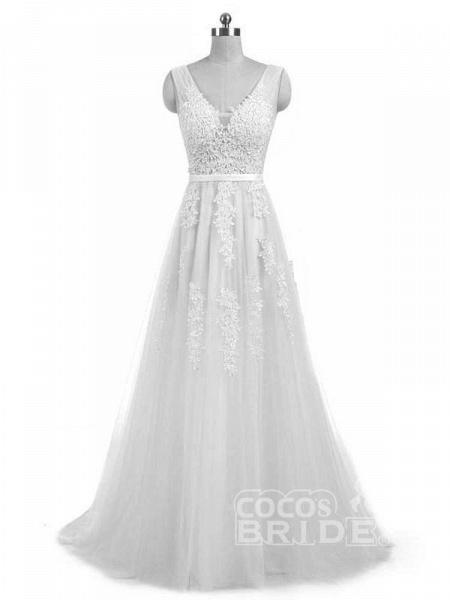 Elegant Champagne Appliques A-line Lace Wedding Dress_8