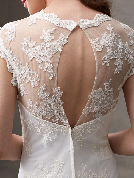 A-Line Wedding Dresses Jewel Neck Knee Length Floral Lace Cap Sleeve Casual See-Through Backless_11