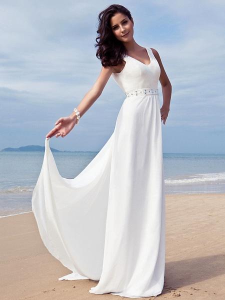 Sheath \ Column Wedding Dresses V Neck Floor Length Chiffon Regular Straps Simple Beach Plus Size_3