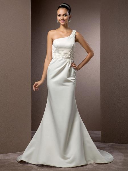 Mermaid \ Trumpet Wedding Dresses One Shoulder Court Train Satin Sleeveless_2