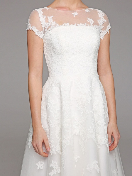 Ball Gown Wedding Dresses Bateau Neck Tea Length Lace Over Tulle Short Sleeve Formal Casual Illusion Detail Cute_12
