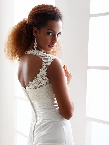Sheath \ Column Wedding Dresses Scoop Neck Sweep \ Brush Train Charmeuse Beaded Lace Cap Sleeve Simple Backless_6
